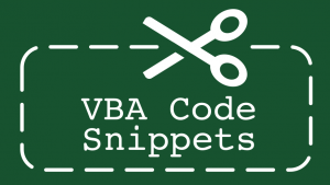 VBA Code Snippets