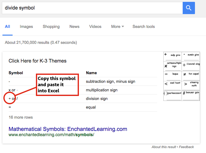 Screen Shot of Google with Divide Symbol highlighted
