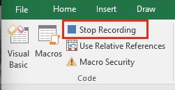 Developer ribbon, stop macro