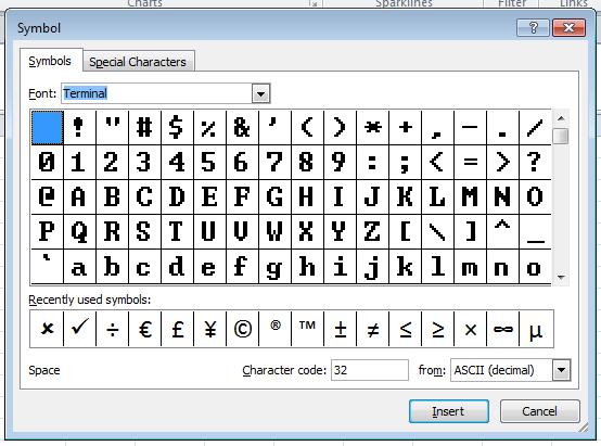 Excel - Insert Symbol