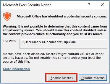Flip - enable macros