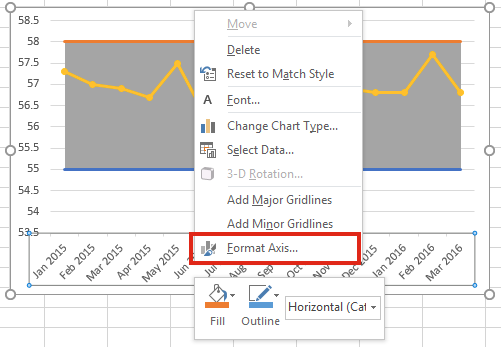 Excel screen shot format axis