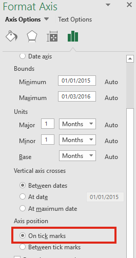 Excel screen shot on tick marks