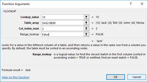 Excel VLOOKUP formula window