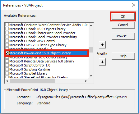 VBA Control Office Applications - Object Library Powerpoint