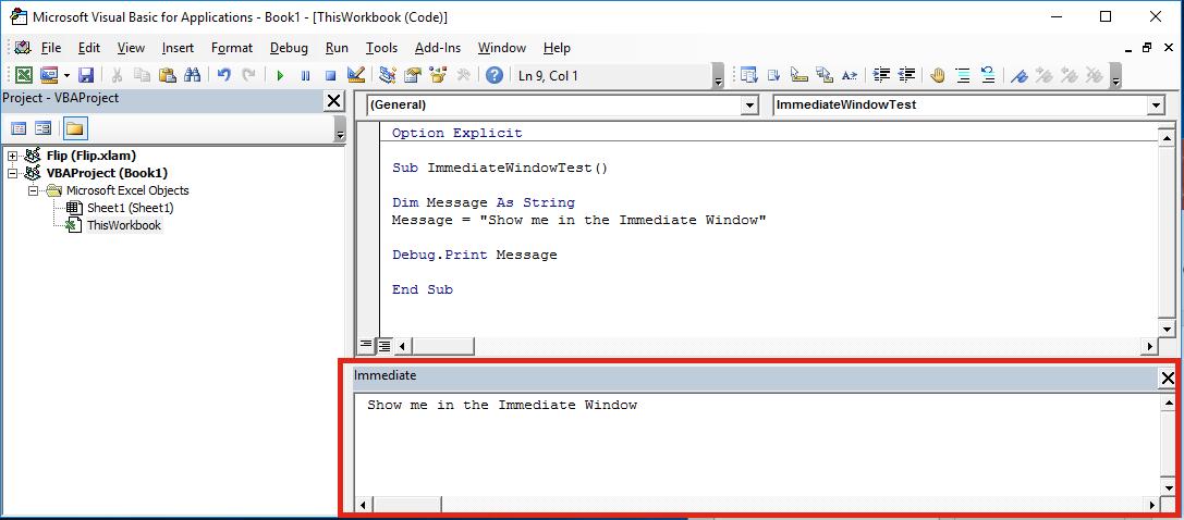 VBA Editor Immediate Window Example