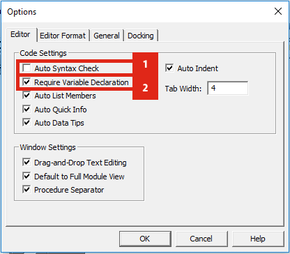 VBA Editor Options Window