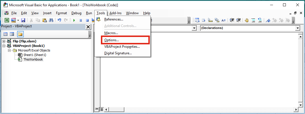 VBA Editor Options