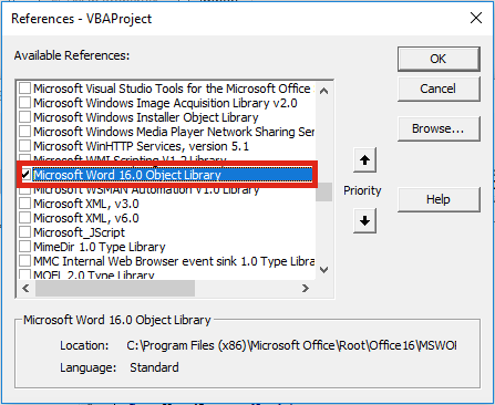 VBA Word Object Library