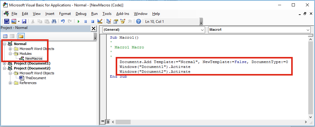 Word Visual Basic Editor Open Document