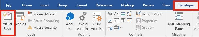 Word Visual Basic Editor