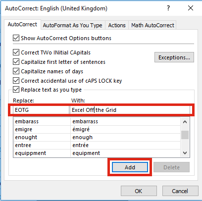 AutoCorrect - Add New