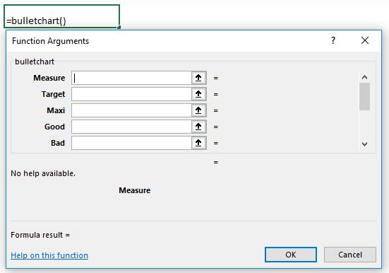 Bullet Charts - Sparklines for Excel Function Arguments