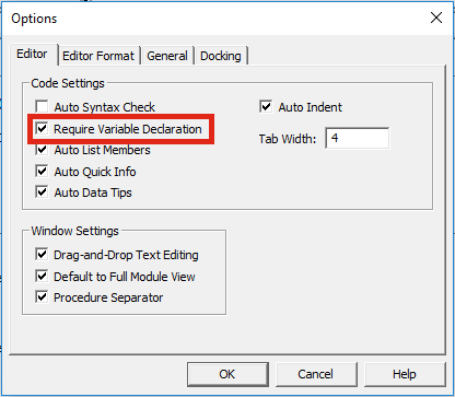 Declare variables Options Window