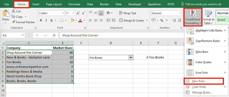 Highlight specific row - Conditional Formatting