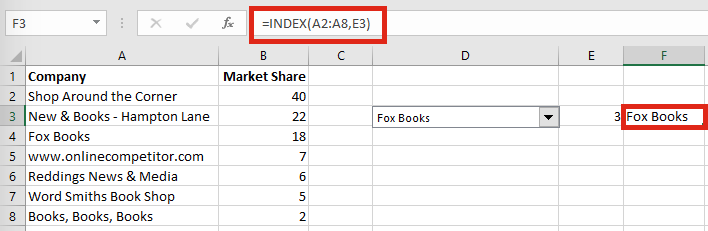 Highlight specific row INDEX function