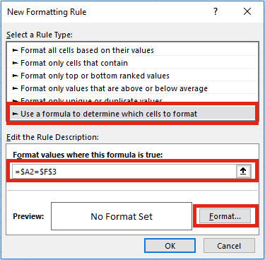 Highlight specific row New Formatting Rule
