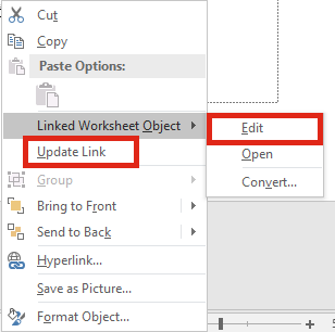 Powerpoint Right Click Update or Edit Link