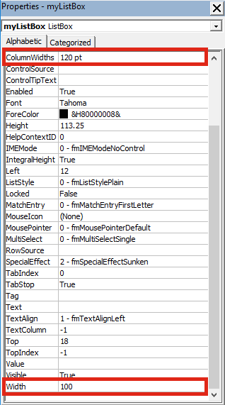 Text in ListBox set scrollbars
