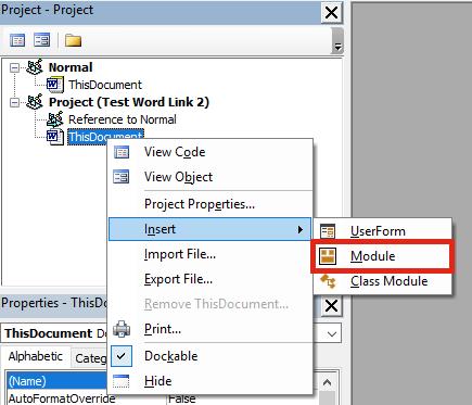 Word VBA insert Module