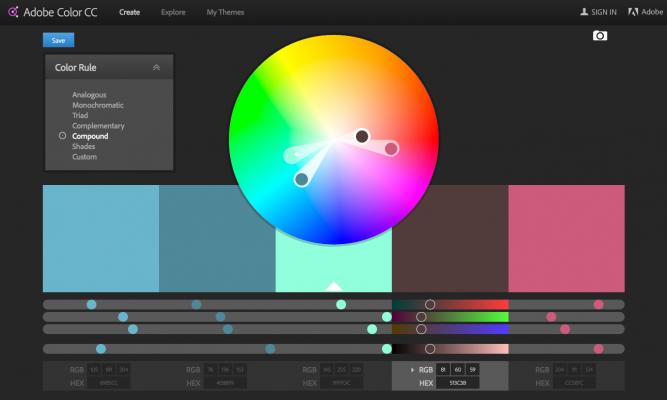 Dashboard Color Pallette - Adobe Color CC