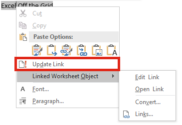 Linking Excel files to Word - Excel off the grid