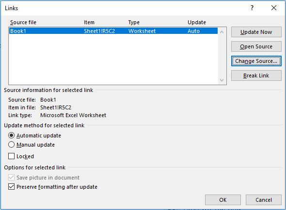 Excel Linked Word - Update Links Window