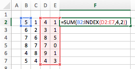 Excel cell ranges - INDEX function in Formula