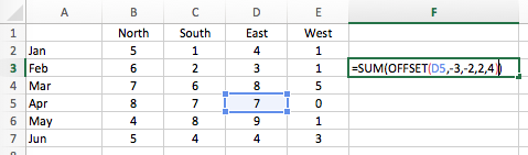 Excel cell ranges - OFFSET