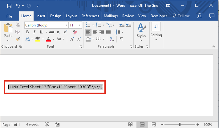 Excel linked to Word - field codes