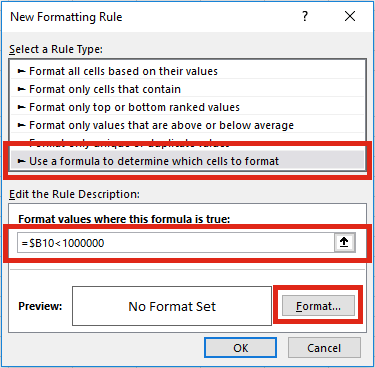 Format numbers - Conditional format create rule 2