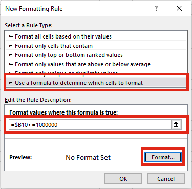 Format numbers - conditional format create rule