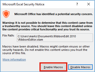 Ribbon Editor Enable Macros