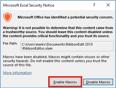 Ribbon Editor Enable Macros