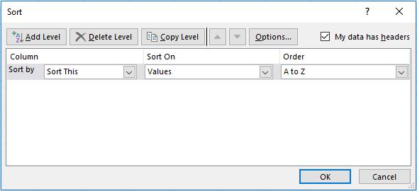 Sort Data L2R window
