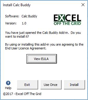 Calc Buddy Install Add-in