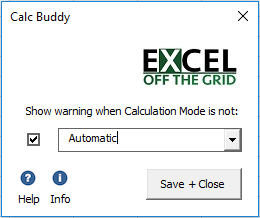 Calc Buddy Settings