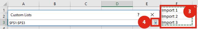 Custom List Window - Import Add Select Range
