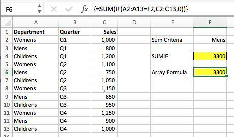 Basic Array Formulas - Array SUM IF - Excel off the grid