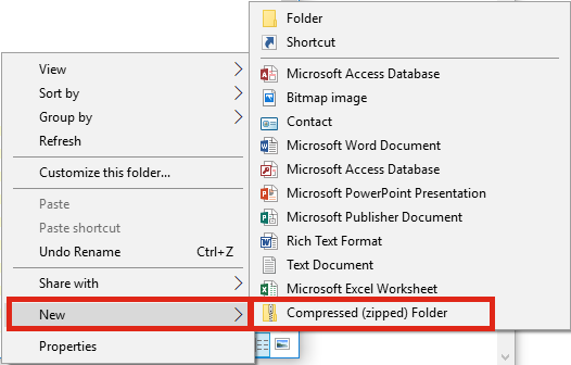 Create Zip folder with Windows