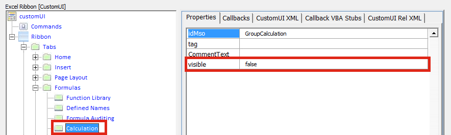 Reverse engineer Ribbon - Existing to visible false
