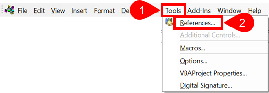 VBE Tools References