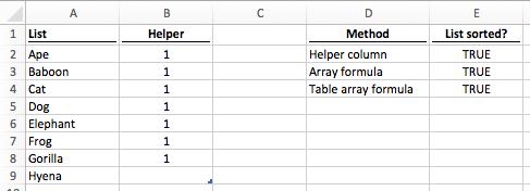 Formula sorted data TRUE