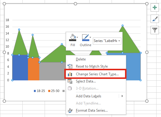 Variable width chart with data labels select chart type