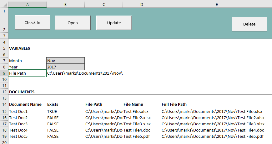 Document Control Template - Screen Shot