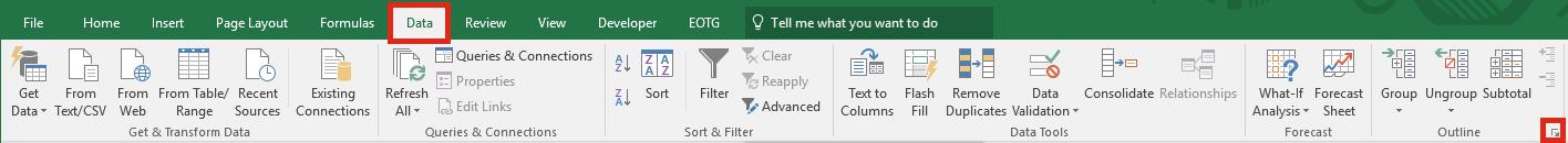 Excel Settings - Data More Settings