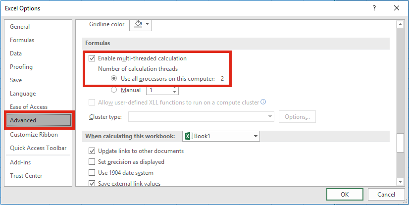 Excel Settings - Multi-treaded