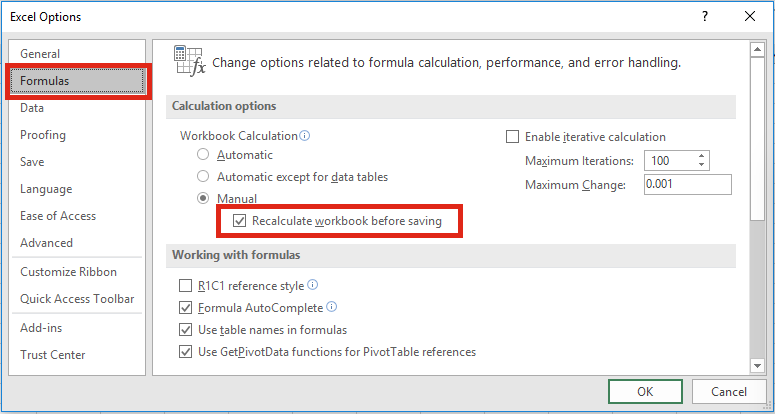 Excel Settings - Recalculate before saving
