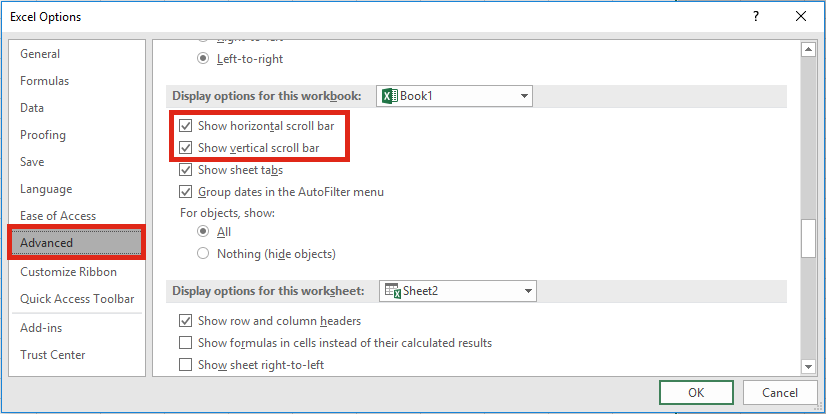 Excel Settings - Scroll Bars