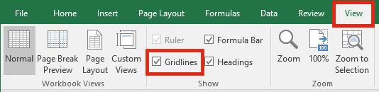 Excel Settings - View Gridlines